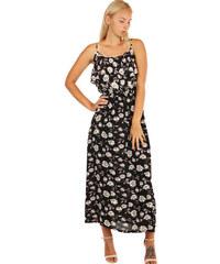 b9deead2466 YooY Dlouhé letní šaty s květinovým vzorem (černá