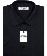 Pánská košile AMJ Classic s krátkým rukávem - černá 99ea4bb4b4