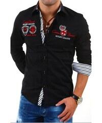 Pánská košile s dlouhým rukávem zdobená nápisy černá Rusty Neal 8004 dcfe2fa3c7