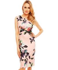 Společenské a párty šaty vypasované bez rukávu květované světle růžové a670e3c1e9