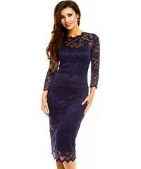 ac38b4b40c9 Společenské šaty MAYAADI krajkové s dlouhým rukávem středně dlouhé tmavě  modré