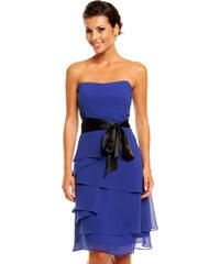 Společenské šaty korzetové značkové MAYAADI s mašlí a sukní s volány modré 45b7d36880