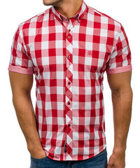Červená pánská kostkovaná košile s krátkým rukávem Bolf 6522 e2a6c8da36