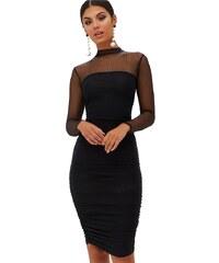 PRETTYLITTLETHING Čierne bodycon midi šaty s mesh sedlom a rukávy 35788b7f6e2