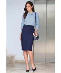 ea04f910cac7 VENCA Dlhšia puzdrová sukňa s rázporkom vzadu námornícka modrá 42
