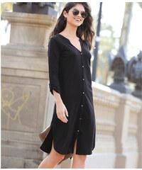 add87e857b98 VENCA Košeľové šaty s gombíkmi a dlhými rukávmi čierna S