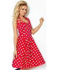 NUMOCO Červené retro šaty s bodkami 30-12 75ea0a521a7