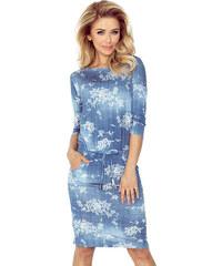 6c8e805d2339 NUMOCO Športové modré šaty s kvetmi 13-56