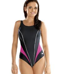 Plavky jednodílné Gwinner Laila - sportovní, šedá - růžová