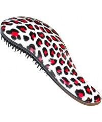 DTANGLER Rozčesávací kartáč na vlasy s rukojetí - leopard červený