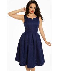 Modré brokátové šaty Lindy Bop Felicia 32312b66b31