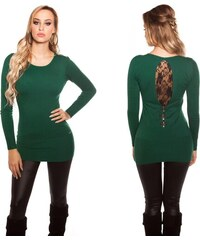 1ca50256d61 Dámské pletené šaty s krajkou a mašličkami Koucla zelené