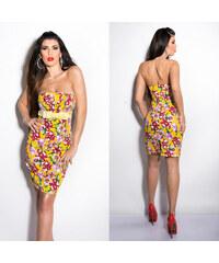 KouCla Bandeau květinové letní šaty Žluté 0385bdeee2