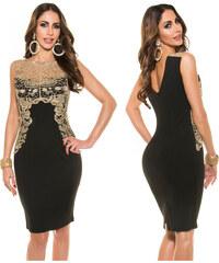 KouCla Pouzdrové šaty se zlatou krajkou Černé 31a478a2ef