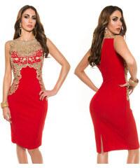 e3ed3d31c5c1 KouCla Pouzdrové šaty se zlatou krajkou Červené. 999 Kč