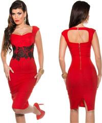 b65ed81487f1 KouCla Pouzdrové šaty s krajkou Červené