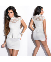 KouCla Peplum mini šaty s krajkou Bílé f2637f6c30