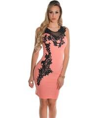 4a59c79ed04d Strikingstyle Elegantné šaty s výšivkou   lososová