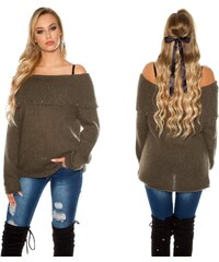 d99633d2144c KouCla Dámský mohérový svetr s výstřihem carmen khaki