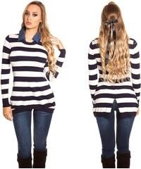 Dámský pruhovaný svetr s džínovým límcem Koucla námořnický 813804acd8