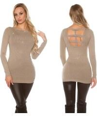 e6d7c1ed0735 Dámské pletené šaty s kamínky Koucla tmavošedé