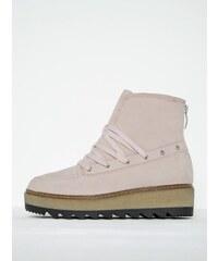 Světle růžové kožené kotníkové boty na platformě Tamaris 87af4864ea