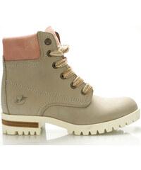 Šedé boty farmářky z pravé kůže s růžovým lemem Roobins f2d1e7b8a8