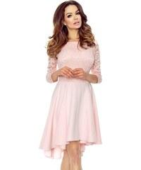 c9280791cad Růžové šaty s krajkou s dlouhým rukávem - Glami.cz
