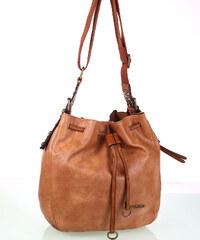 Dámska kabelka cez rameno z eko kože Kbas so sťahovacím zapínaním hnedá a208eb7f582
