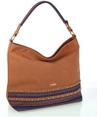Dámska kabelka z eko kože a látky Kbas so vzorom hnedá d17adf6eb5a