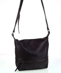 Dámska kabelka cez rameno eko koža Kbas s predným zipsom hnedá 702e66bf369