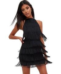 PRETTYLITTLETHING Černé šaty s třásněmi a61d1c81ea1