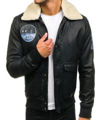 Čierna pánska letecká bunda z eko-kože BOLF 4794 1e5d0a20845