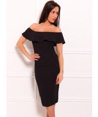 Due Linee Dámské eleganntí šaty s volnými rameny - černá 997352761ca