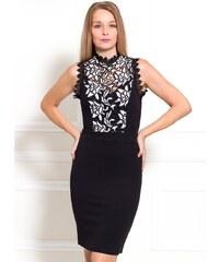 de526478854 Due Linee Dámské šaty s krajkovým dekoltem černo - bílá
