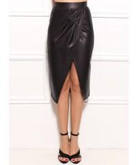 Glam Černá sukně s rozparkem mokrý vzhled b08476caf1