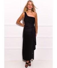 381c02c12911 Due Linee Spoločenské dlhé šaty na jedno rameno s naberaním na boku - čierna