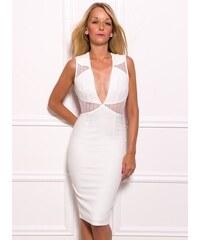 951ee89330c Due Linee Dámské elegantní šaty s průstřihy - bílá