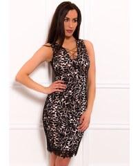 45f4c2e7423 Due Linee Dámské šaty se zajímavým dekoltem a krajkou černo - béžová