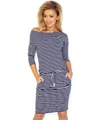 Numoco Dámské sportovní tmavě modré šaty s bílými proužky 83014a287a