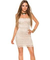 Světle hnědé šaty bez ramínek - Glami.cz cd2a9bdc16