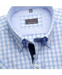 613b09feecf9 Willsoor Pánska košele WR Slim Fit s krátkym rukávom s bielo-modrú kockou  (výška