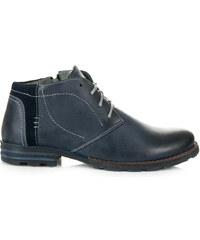 0b5fa79beb8bb LUCCA Pánske modré kožené zateplené členkové topánky