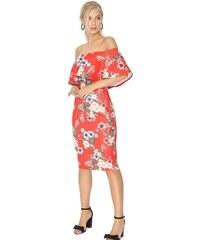 35b792a3d740 LITTLE MISTRESS Červené bodycon midi šaty s kvetinovým vzorom a bardot  dekoltom