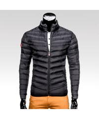 Ombre Clothing Pánska prešívaná zimná bunda bez kapucne Streak čierna 902c6b39dce