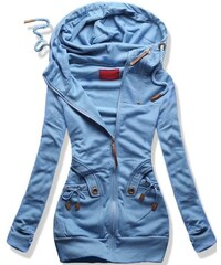 MODOVO Női hosszú pulóver kapucnival D407 kék 4742280980