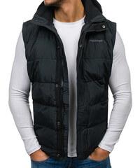 01cdbb246870 Čierna pánska vesta s kapucňou BOLF 8260
