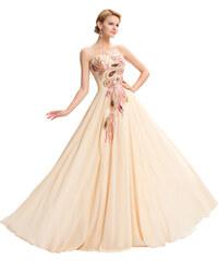 8bf454ea68f9 GK Dlouhé večerní šaty s vyšívaným pavím motivem
