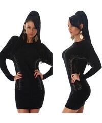 Jela London Dámské pletené šaty s krajkou a kamínky černé 5ff7640b17