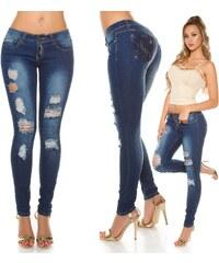 Dámské skinny džíny v poničeném vzhledu s kamínky Koucla a4bff82c4b
